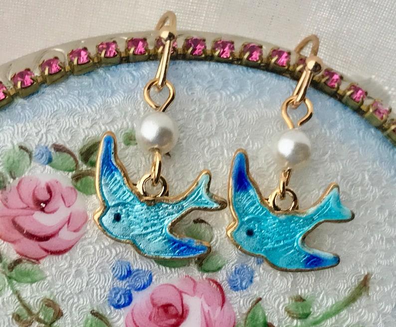 Guilloche Enamel Gold Plated Dangle Bird Pearl #728B Vintage Bluebird Earrings
