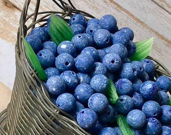 Vintage Glass Blueberries beads, Berry Beads, Berries, 8mm Round Blue beads