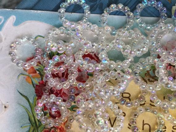 Circle Beads Vintage Aurora Borealis Beads Hoop #746 AB Connectors Austria