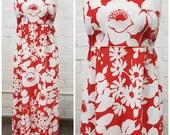 Vintage 60s 70s Marimekko style red floral maxi dress L