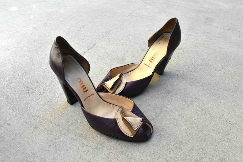 9b852e7c871 Vintage Miu Miu purple leather peeptoe heels 80s/90s 37 8