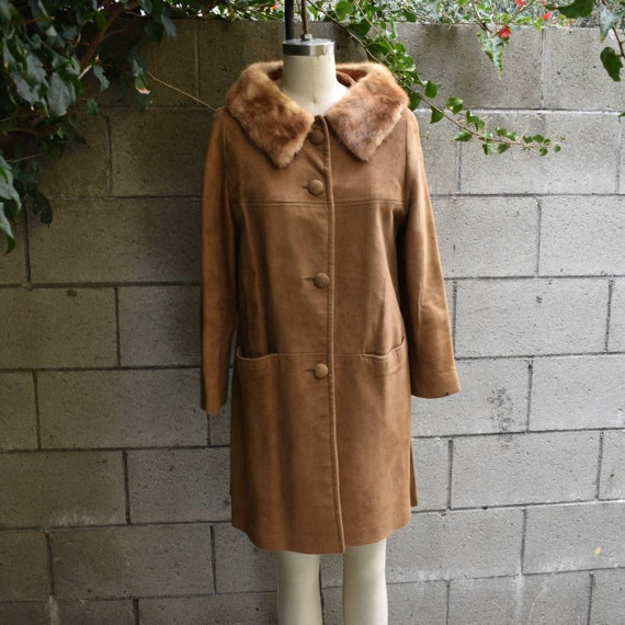Vintage 60s mid century suede coat w mink fur coll