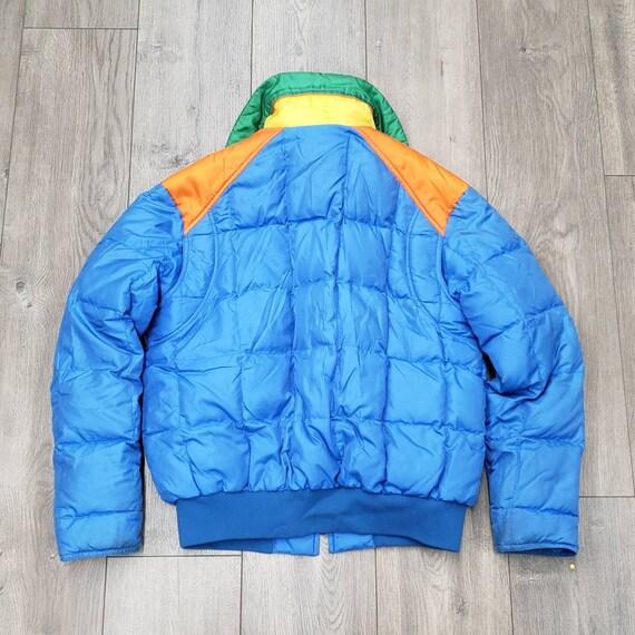 Vintage 70s 80s blue rainbow puffer coat M L