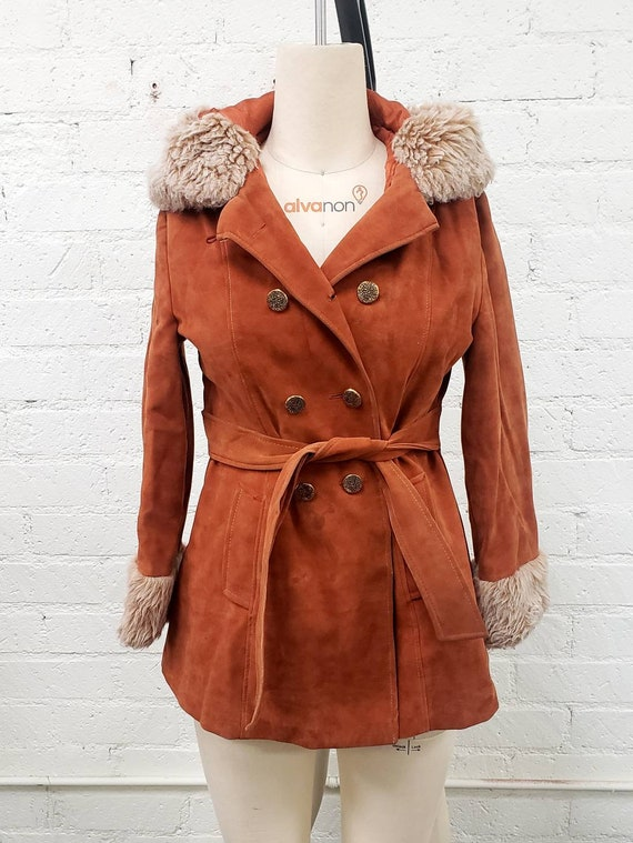 Vintage 70s brown faux suede Penny Lane fur trimm… - image 1