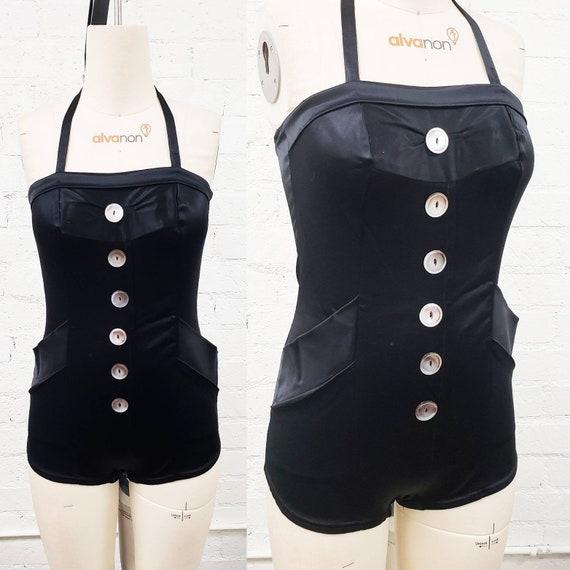 Stunning vintage 40s 50s black satin swimsuit w bu