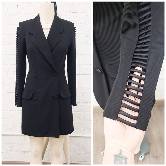 Vintage 90s Joseph Ribkoff black suit skort romper