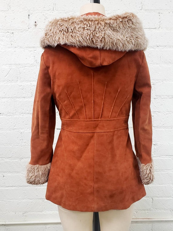 Vintage 70s brown faux suede Penny Lane fur trimm… - image 2