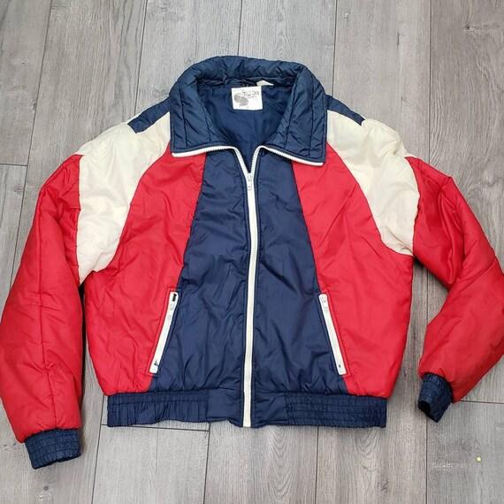 Vintage 70s 80s red navy puffer jacket coat vegan
