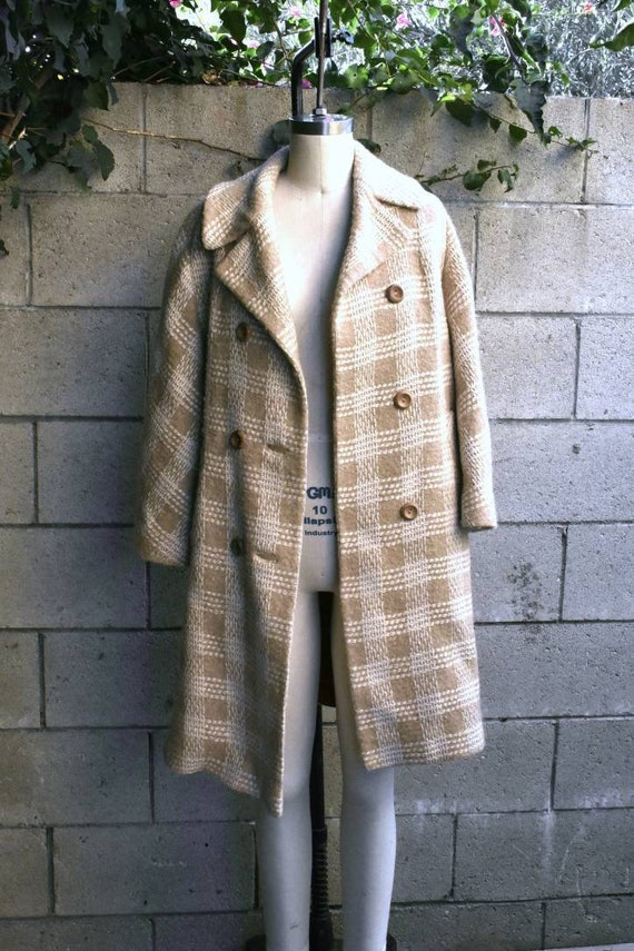 Vintage 50s oversized tan cream wool plaid coat M