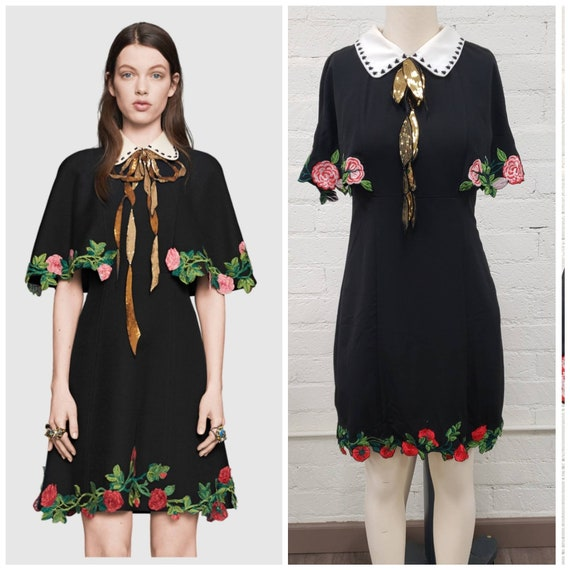 Vintage Gucci inspired black embroidered rose cape