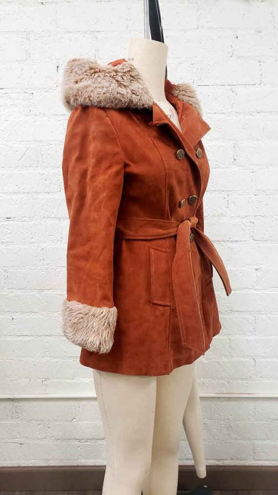 Vintage 70s brown faux suede Penny Lane fur trimm… - image 3