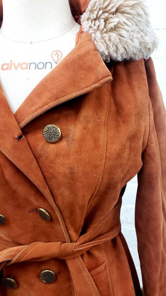 Vintage 70s brown faux suede Penny Lane fur trimm… - image 7