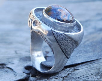 BOREALIS - brown and blue boulder opal, swirls of sterling silver statement ring, textured