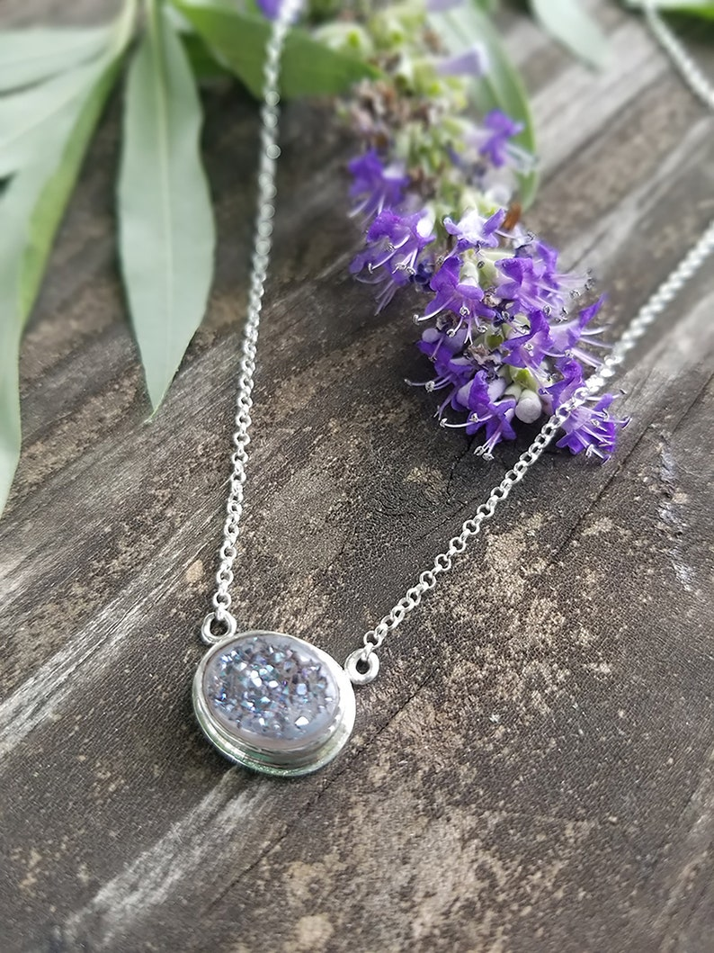 simple and elegant sterling silver purple sparkly druzy necklace PERIWINKLE