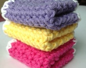 Gift for Her Coaster Set of 3 Cotton Washcloths Fiesta Hot Pink, Deep Lavender and Canary Yellow White Cotton Pot Holder Mother s Day