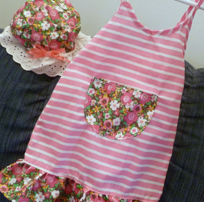 Gift for Her Handmade Beach Set of 2 Sun Hat Fancy Dress Spring Easter Summer Toddler Flowers Daisies Ruffled Ready to Ship