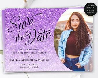 Save the Date Photo Announcement, Editable Text for Any Event, Purple Glitter, Print or Text Digital Invitation, Instant Download-1432