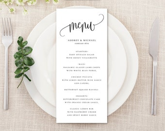 Editable Party Menu, Calligraphy  Script, Print on Kraft or White,  Printable Template, Instant Download #916