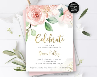 Blush Pink Floral 50th Birthday Invitation Template, Any Age, Editable Text, Gold Accents, Printable Digital File, Instant Access, #418