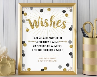 Wish Jar, Birthday Wish Jar, Black Silver Gold Glitter / Instant Download, PRINTABLE, 9120