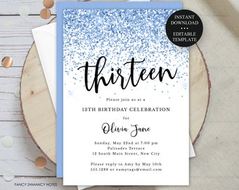Blue Glitter Confetti Thirteen Editable 13th Birthday Party Invitation, Print/Text Digital Invitation, Instant Download, jpeg/pdf, 134