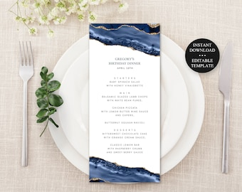 Editable Dinner Menu,  Blue Agate  with Gold Accents, Editable Text, Print at Home Printable Template, Instant Download -137