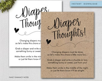 Diaper Thoughts Baby Shower Activity, Late Night Diapers, Kraft or White, Instant Download, Printable File #1234