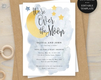 Over the Moon, Baby Shower Invitation Template, Watercolor Moon Stars, Editable Text, Print/Text Digital File,  Instant Download #721