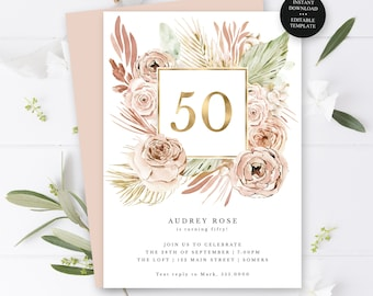 50th Birthday Invitation, Gold Any Year Editable Text, Gold Frame Boho Roses, Instant Access, Print/Text Digital File #518