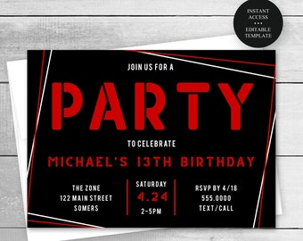 13th Birthday Invitation, Any Age Editable Text and Colors, Boy Geo Frame, Red Black, Print/Text Digital Invitation, Instant Download, #082