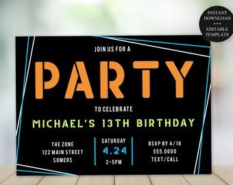 13th Birthday Invitation, Any Age, Boy Geo Frame, Custom Colors, Print/Text Digital Invitation, Instant Download Editable Template, #082