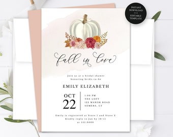 Fall in Love White Pumpkin Bridal Shower Editable Text, Invitation Template, Print/Text Digital Invitation, Instant Download, #206