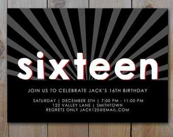16th Birthday Invitation Black White Red Teen Boy PRINTABLE INVITATION 2315