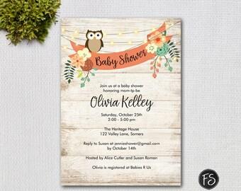 Rustic Owl Baby Shower Digital Invitation, Distressed Wood and String Twinkle Lights Printable Invitation, Item # 7201