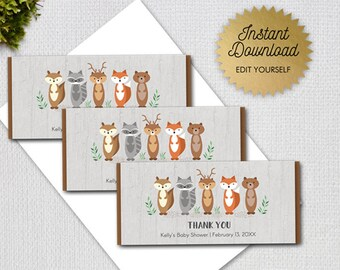 Woodland Animals Baby Shower Editable Candy Bar Wrapper, Forest Animals, Instant Download Printable Digital File, 1228