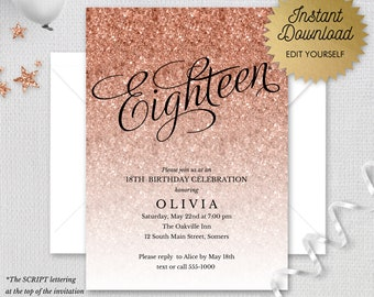 Rose Gold Sparkle Glitter Editable 18th Birthday Invitation, Eighteen Rose Gold Faux Glitter, Printable Digital Invitation, Item #1435