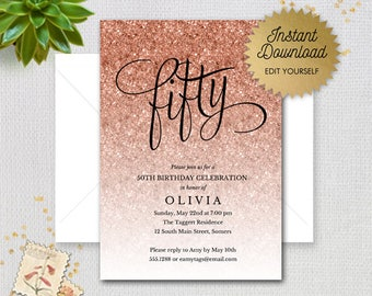 Rose Gold Sparkle Glitter Editable 50th Birthday Invitation Fifty Faux Printable Digital Item 1435