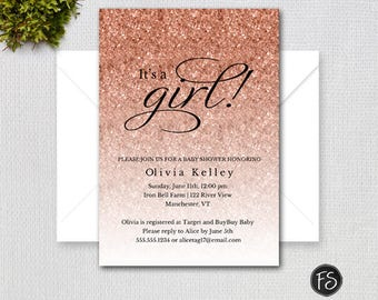 Rosegold Glitter Baby Shower Invitation Rose Gold Faux Etsy