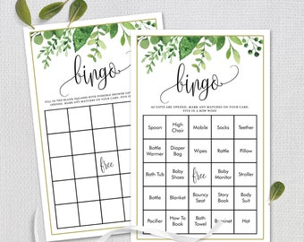 Eucalyptus Greens Foliage, Prefilled Baby Shower Bingo Game, 50 Unique Cards, Shower Game, Bonus Blank Cards, Instant Download #163