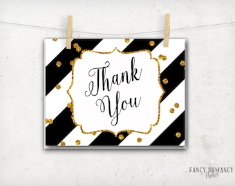 Thank you Note Card / Black and Gold Glitter confetti / Printable Notecard / Instant Download / PRINTABLE /  #12520