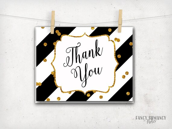 image relating to Printable Notecard titled Thank oneself Notice Card / Black and Gold Glitter confetti