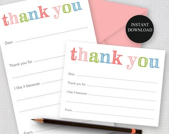Printable Fill In Thank you Note, Rainbow Sketch Print, 2 sizes Printable Stationery, Children Thank you, Instant Download