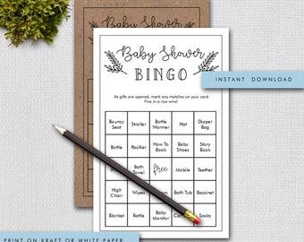 Baby Shower Bingo Game, 50 Unique Prefilled Bingo Game Cards and Bonus Blank Cards, Gender Neutral , Instant Download Digital File 905