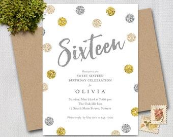 16th Birthday Invitation / Silver Gold Cream Glitter / PRINTABLE INVITATION /  #1816