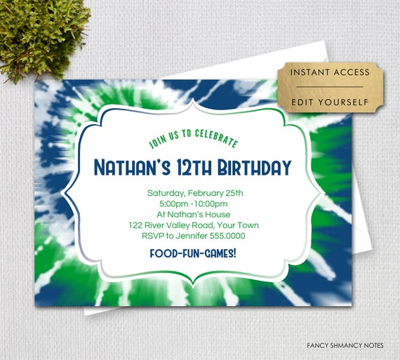 Editable Tie Dye Invitation Large Blue Green Spiral Print
