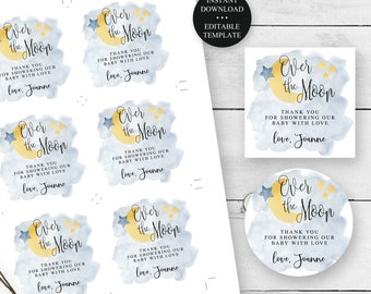 """Over the Moon, Baby Shower Favor Tags or Stickers, 2"""", 2.5"""", 3"""" Editable Templates, Moon and Stars, Instant Download, Printable Tags #721"""