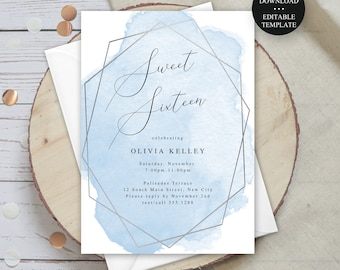 Editable Sweet 16 Birthday Party Invitation Blue Watercolor Silver Frame Print/Text Digital Invitation, Instant Download, jpeg/pdf #012