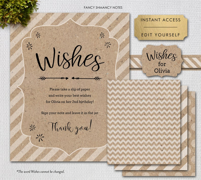 Wish Jar DIY, Printable Paper to Make Your Own Wish Jar, Editable files,  Instant Download, jpeg/pdf, 1234