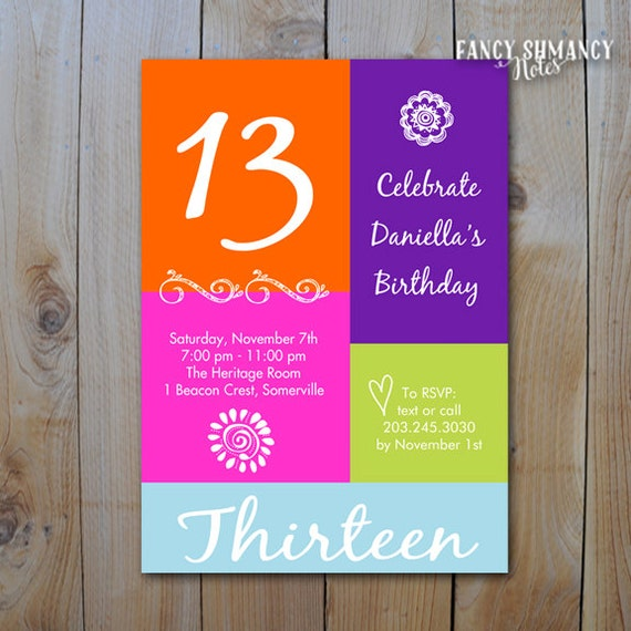 13TH Birthday Invitation Girls Color Block Bling 13 16 PRINTABLE INVITATION 10534