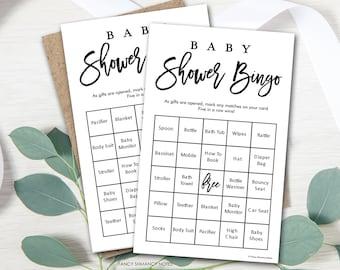 Prefilled Baby Shower Bingo Game, Brush Script, Bonus Blank Cards, Gender Neutral Shower Game,  Instant Download Digital File #6200
